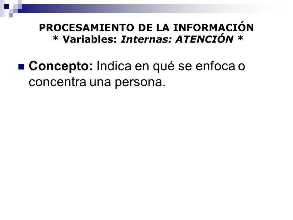 PROCESAMIENTO DE LA INFORMACIÓN * Variables: Internas: ATENCIÓN *