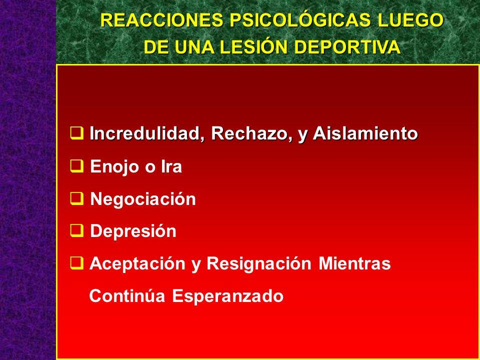REACCIONES PSICOLÓGICAS LUEGO DE UNA LESIÓN DEPORTIVA