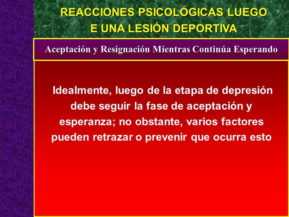 REACCIONES PSICOLÓGICAS LUEGO E UNA LESIÓN DEPORTIVA