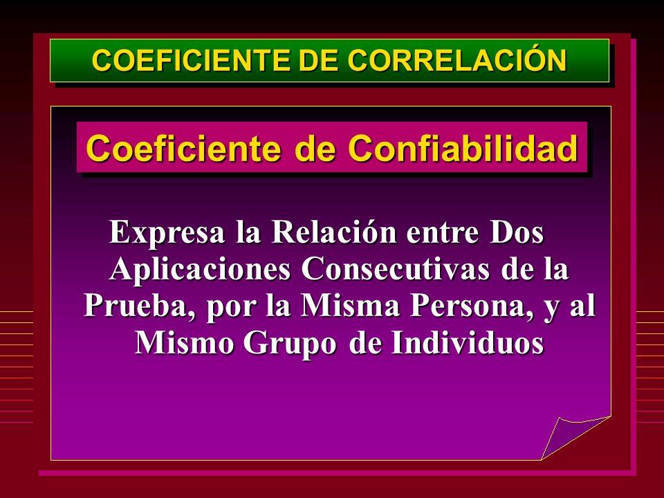 COEFICIENTE DE CORRELACIÓN Coeficiente de Confiabilidad