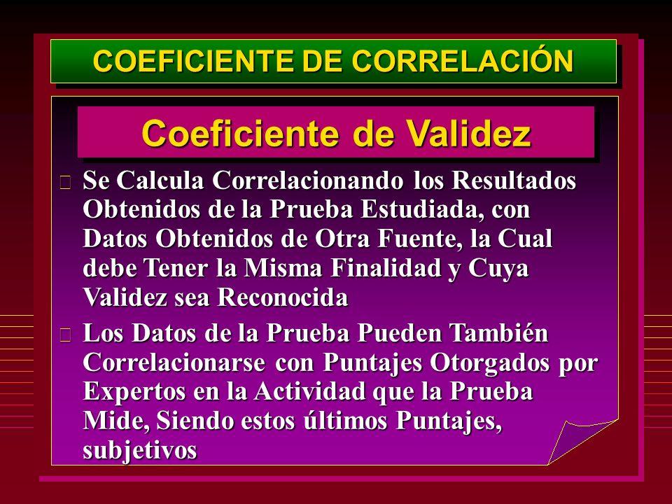 COEFICIENTE DE CORRELACIÓN Coeficiente de Validez
