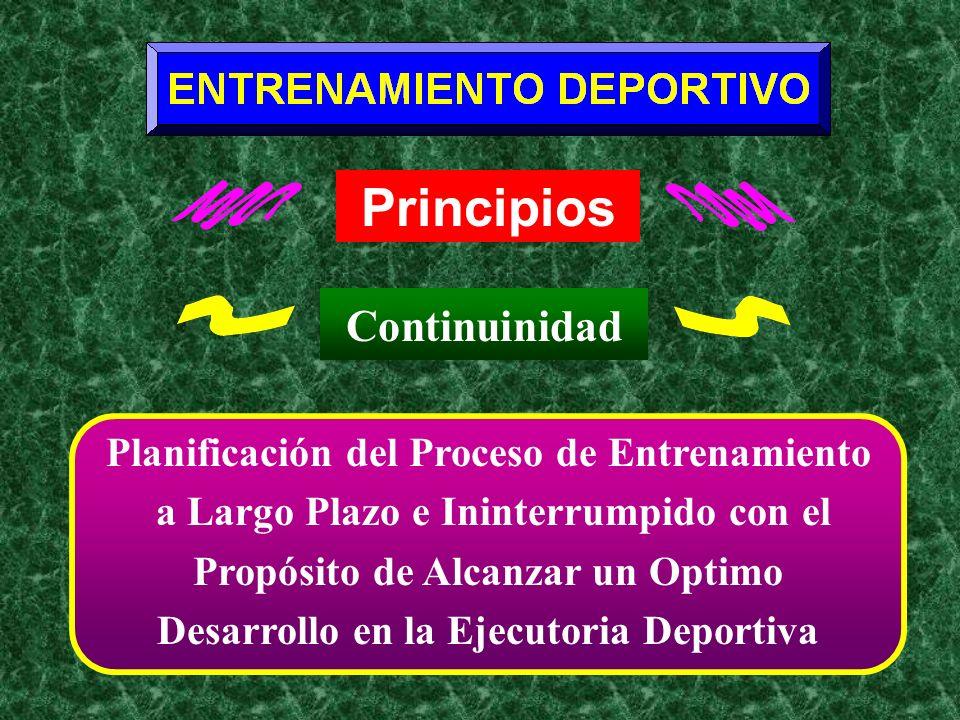 Principios Continuinidad Planificación del Proceso de Entrenamiento