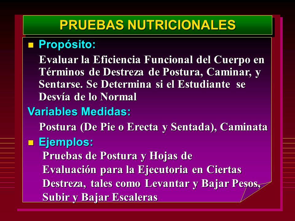 PRUEBAS NUTRICIONALES