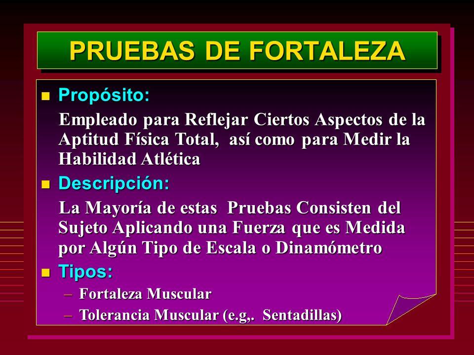 PRUEBAS DE FORTALEZA Propósito: