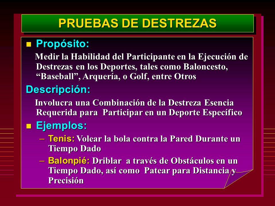 PRUEBAS DE DESTREZAS Propósito: Descripción: Ejemplos: