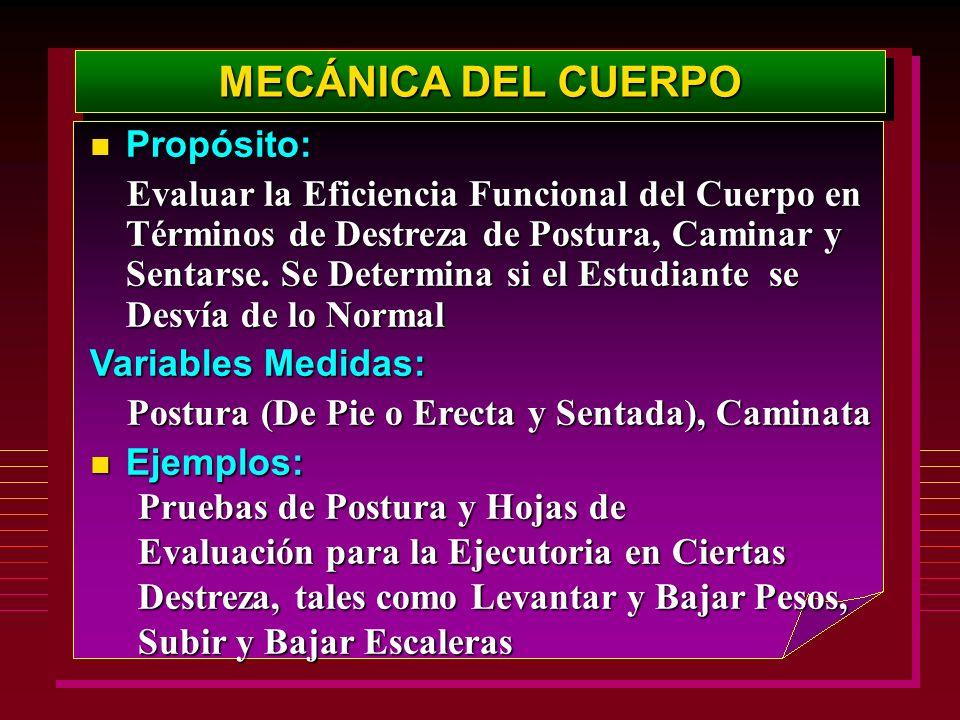 MECÁNICA DEL CUERPO Propósito: