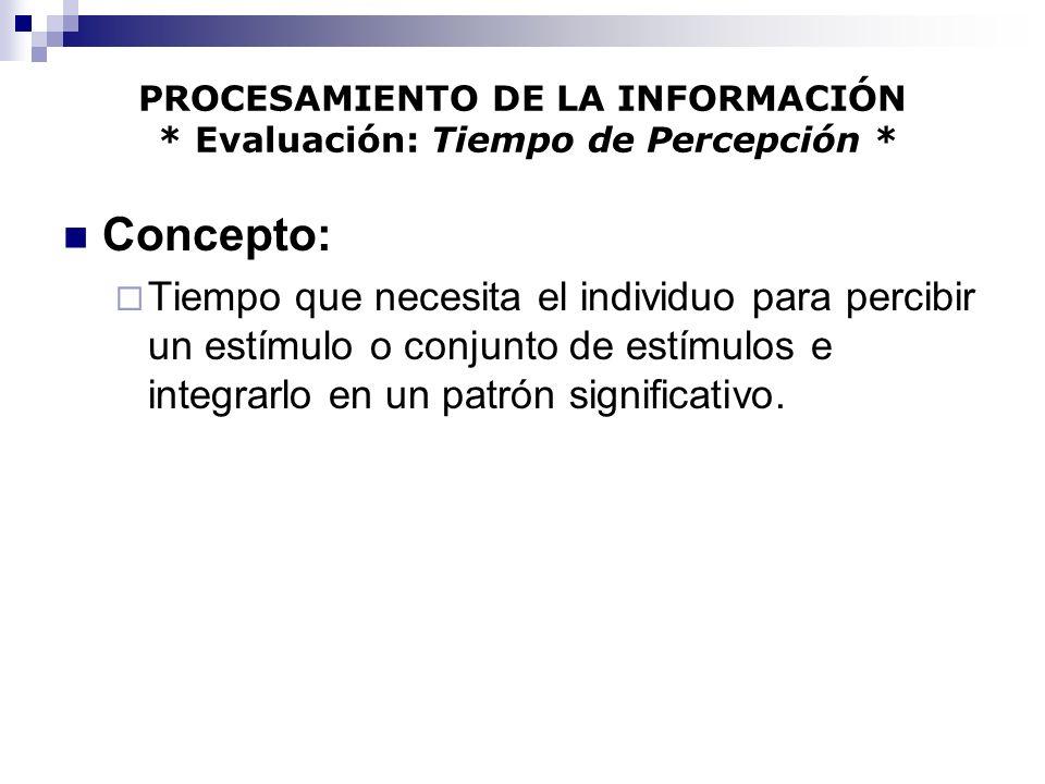 PROCESAMIENTO DE LA INFORMACIÓN * Evaluación: Tiempo de Percepción *