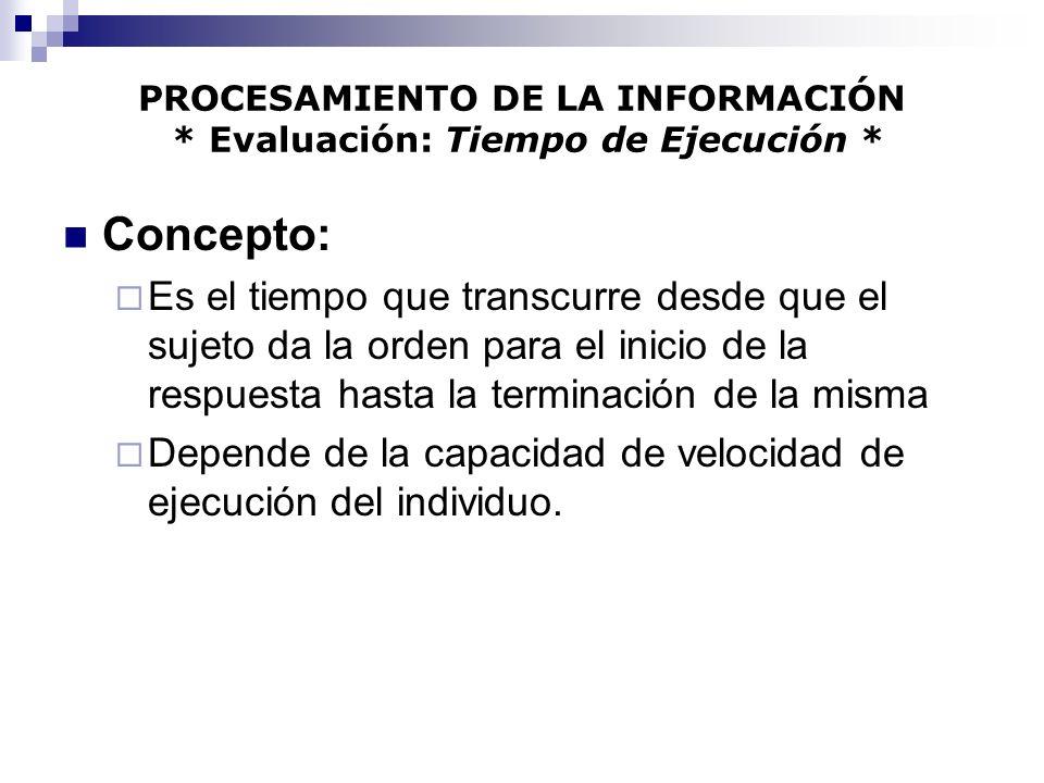 PROCESAMIENTO DE LA INFORMACIÓN * Evaluación: Tiempo de Ejecución *