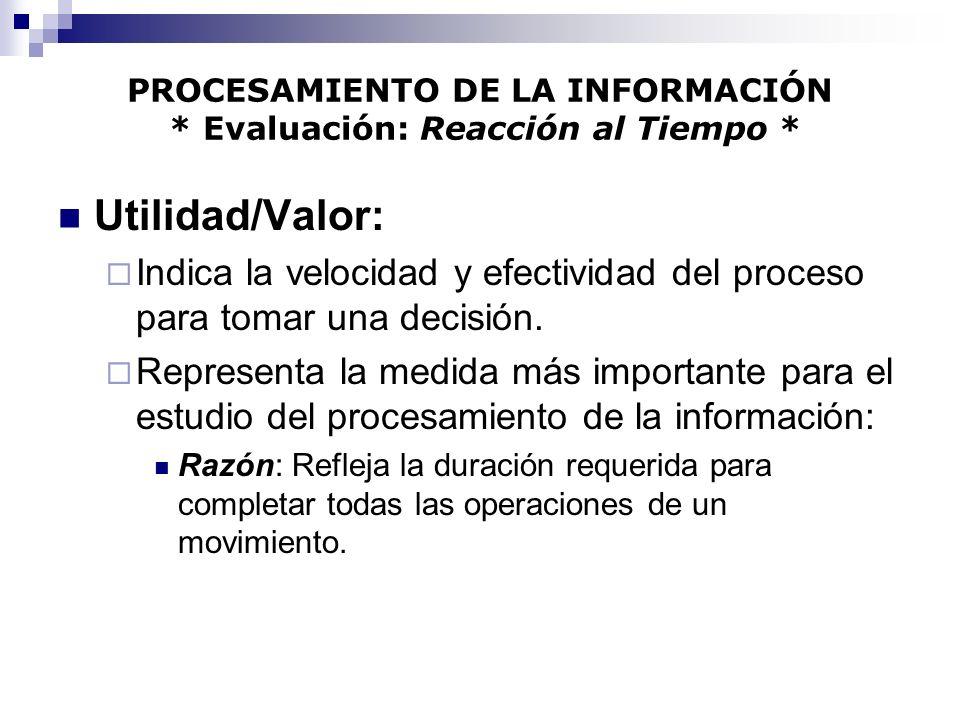 PROCESAMIENTO DE LA INFORMACIÓN * Evaluación: Reacción al Tiempo *