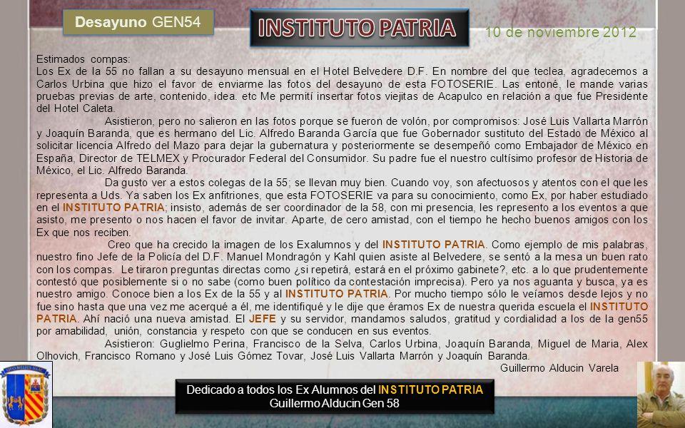 INSTITUTO PATRIA Desayuno GEN54 10 de noviembre 2012
