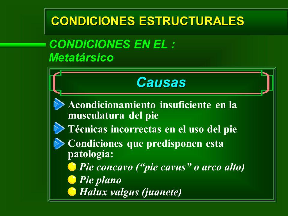 Causas CONDICIONES ESTRUCTURALES CONDICIONES EN EL : Metatársico