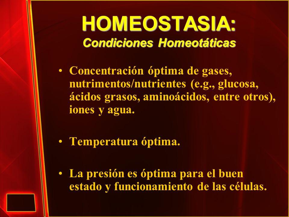 HOMEOSTASIA: Condiciones Homeotáticas
