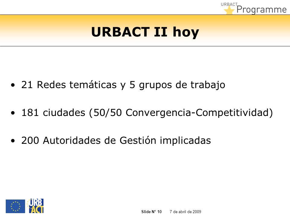 URBACT II hoy 21 Redes temáticas y 5 grupos de trabajo