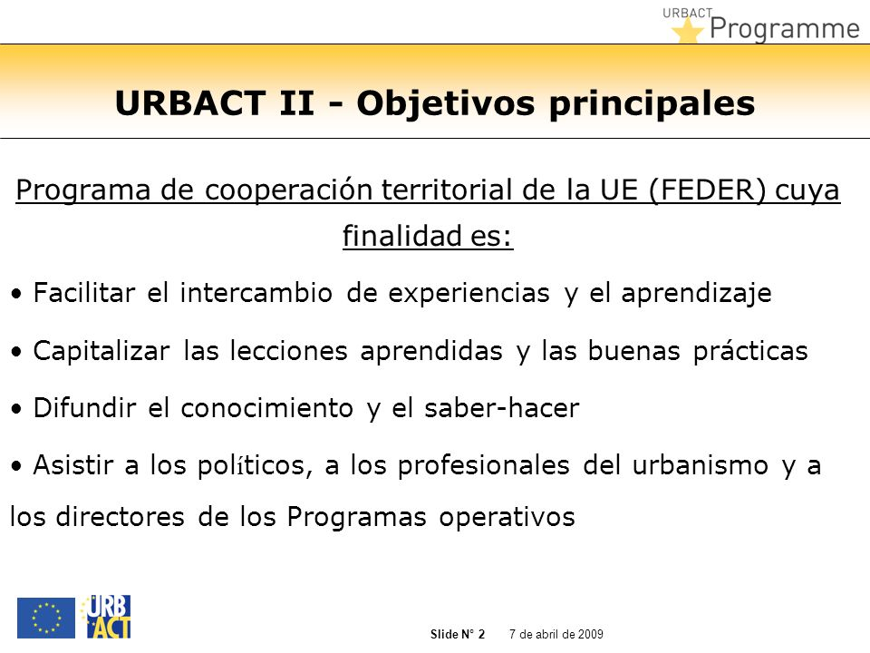 URBACT II - Objetivos principales