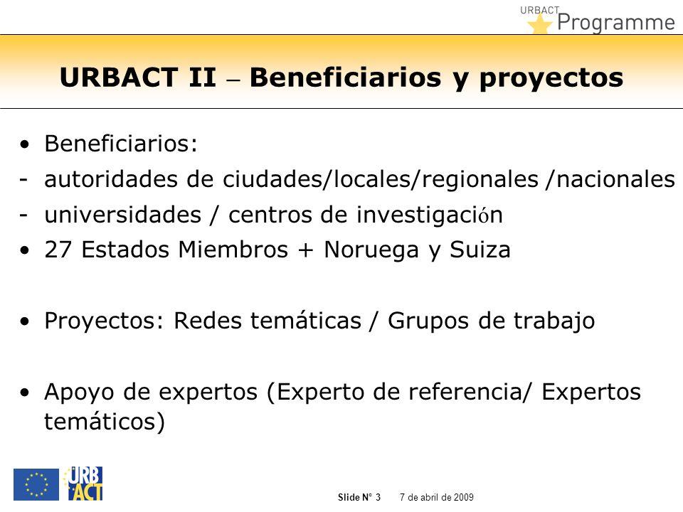 URBACT II – Beneficiarios y proyectos