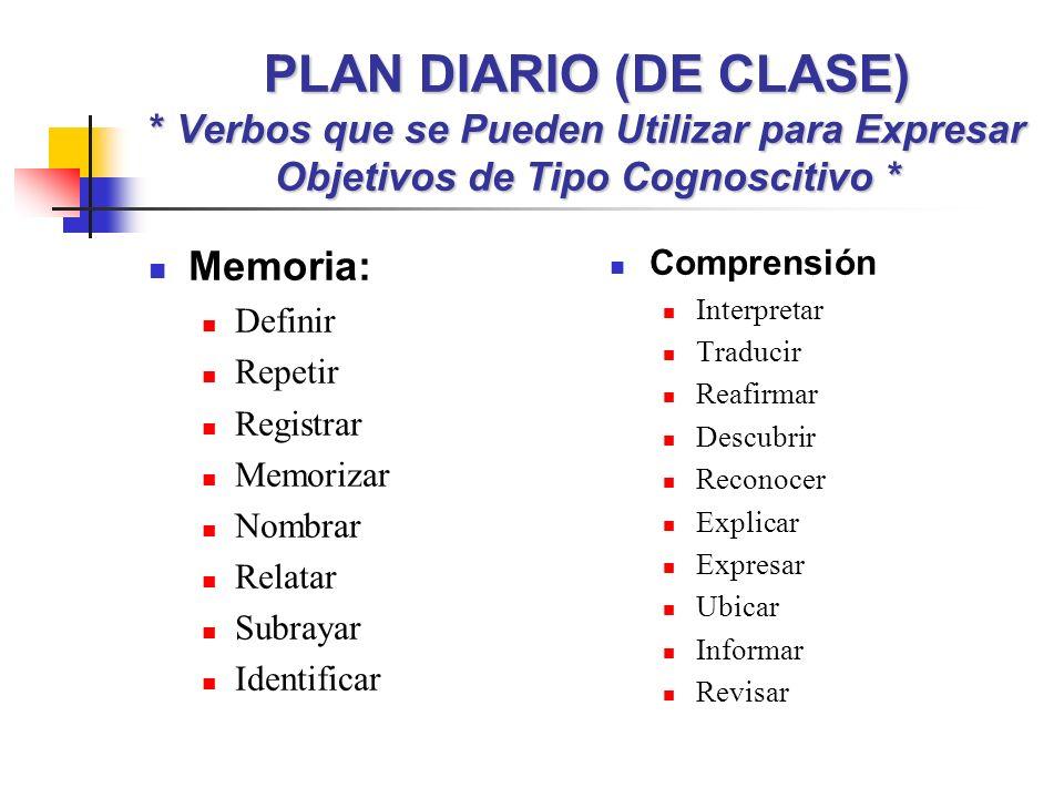 PLAN DIARIO (DE CLASE) * Verbos que se Pueden Utilizar para Expresar Objetivos de Tipo Cognoscitivo *
