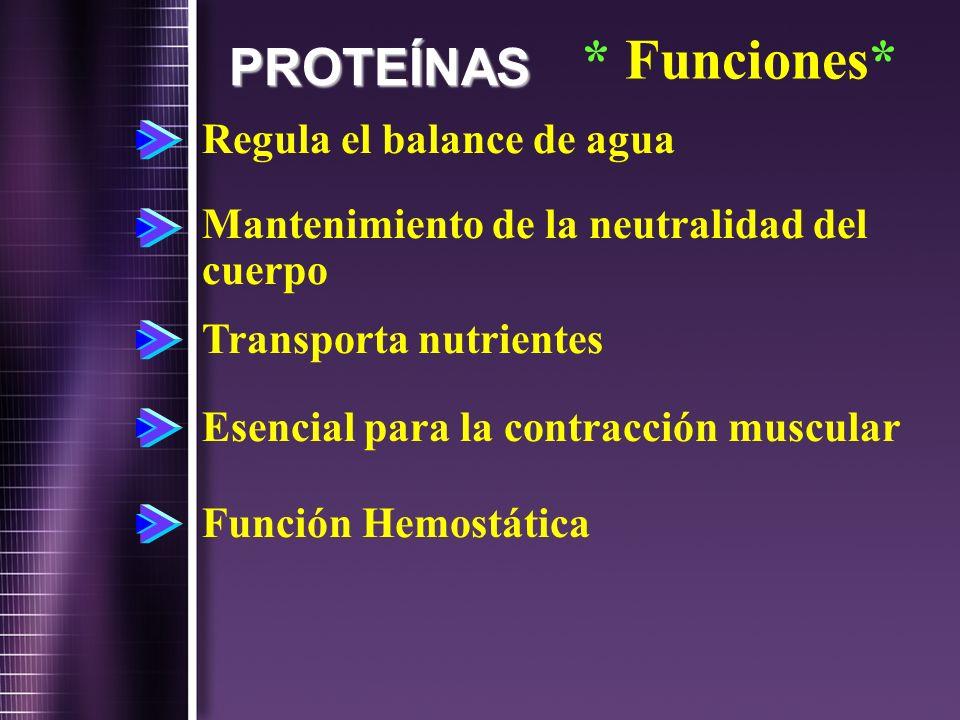 * Funciones* PROTEÍNAS Regula el balance de agua