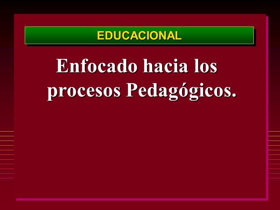 Enfocado hacia los procesos Pedagógicos.