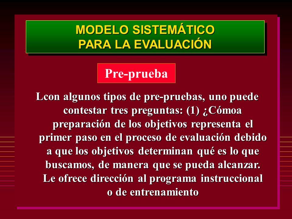 Pre-prueba MODELO SISTEMÁTICO PARA LA EVALUACIÓN