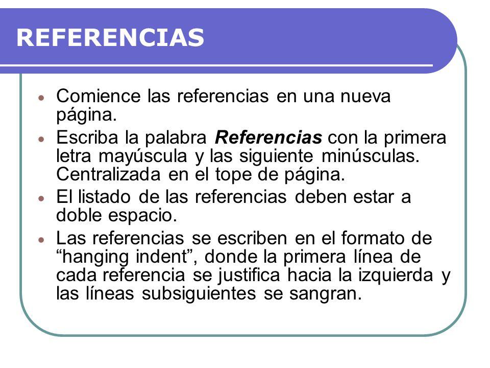 REFERENCIAS Comience las referencias en una nueva página.