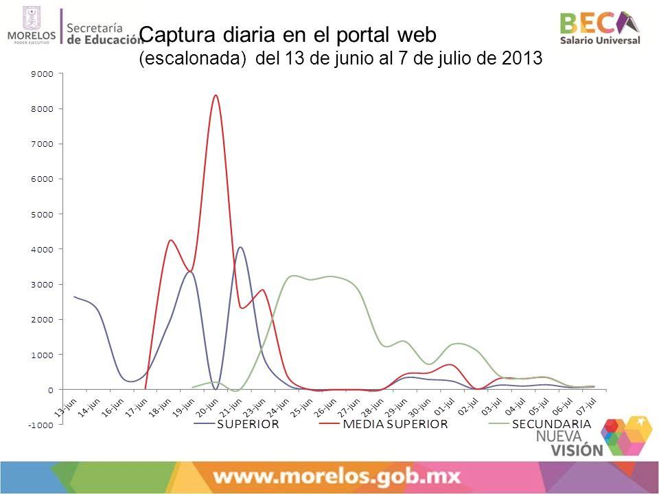 Captura diaria en el portal web (escalonada) del 13 de junio al 7 de julio de 2013