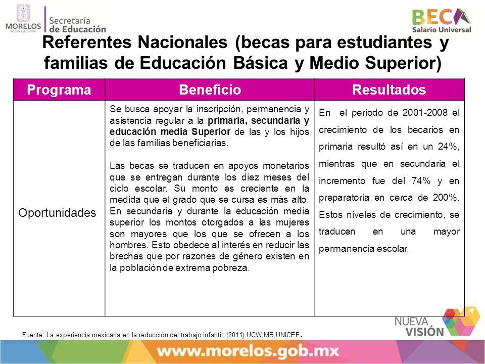 Referentes Nacionales (becas para estudiantes y familias de Educación Básica y Medio Superior)