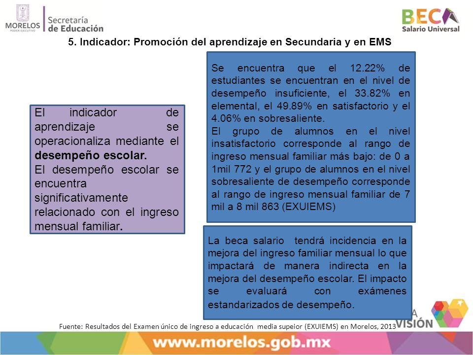 5. Indicador: Promoción del aprendizaje en Secundaria y en EMS