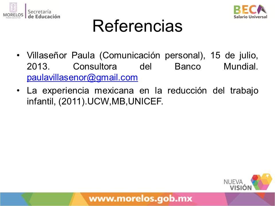 Referencias Villaseñor Paula (Comunicación personal), 15 de julio, 2013. Consultora del Banco Mundial. paulavillasenor@gmail.com.