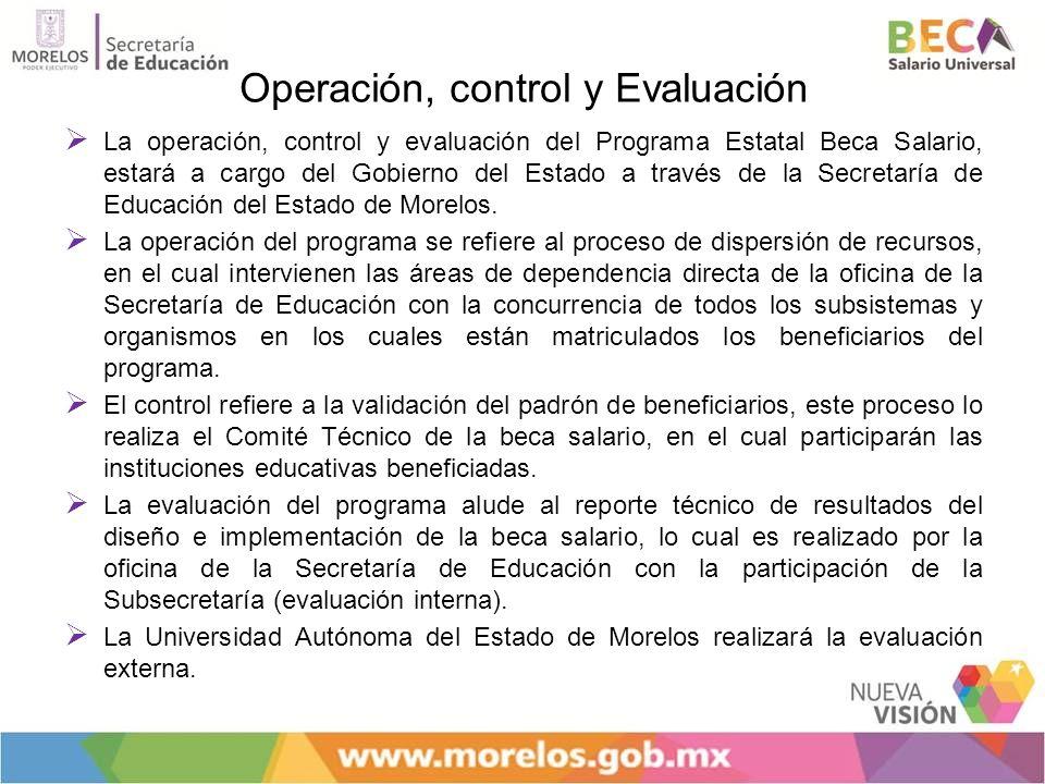 Operación, control y Evaluación