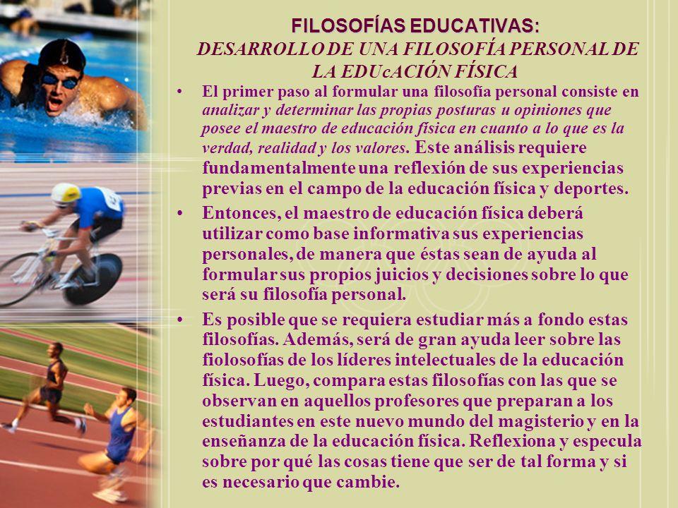 FILOSOFÍAS EDUCATIVAS: DESARROLLO DE UNA FILOSOFÍA PERSONAL DE LA EDUcACIÓN FÍSICA