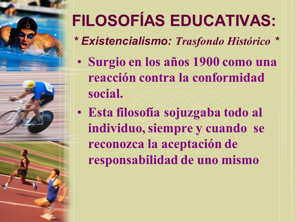 FILOSOFÍAS EDUCATIVAS: * Existencialismo: Trasfondo Histórico *