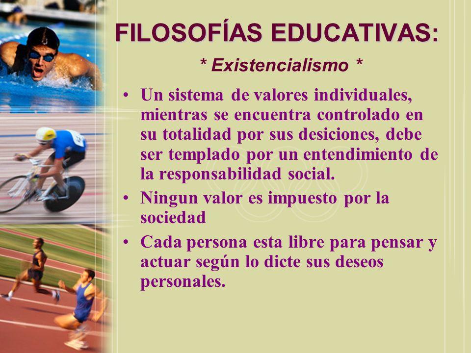 FILOSOFÍAS EDUCATIVAS: * Existencialismo *