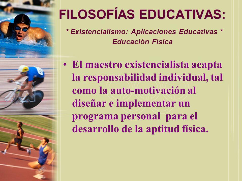 FILOSOFÍAS EDUCATIVAS:. Existencialismo: Aplicaciones Educativas