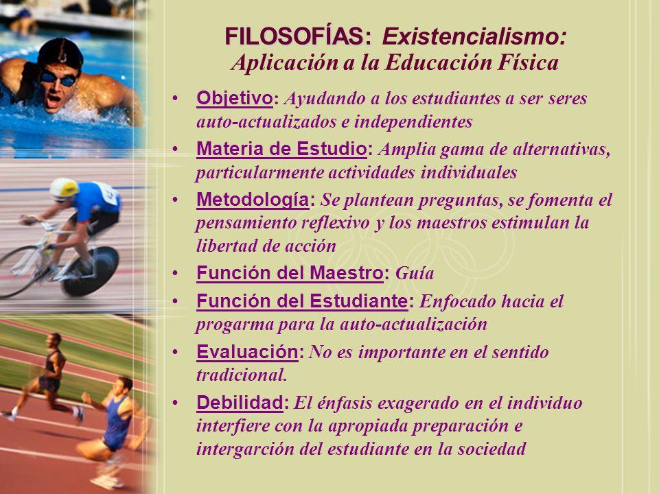 FILOSOFÍAS: Existencialismo: Aplicación a la Educación Física