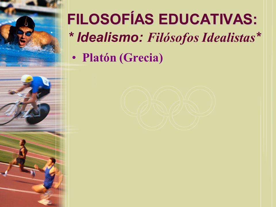 FILOSOFÍAS EDUCATIVAS: * Idealismo: Filósofos Idealistas*