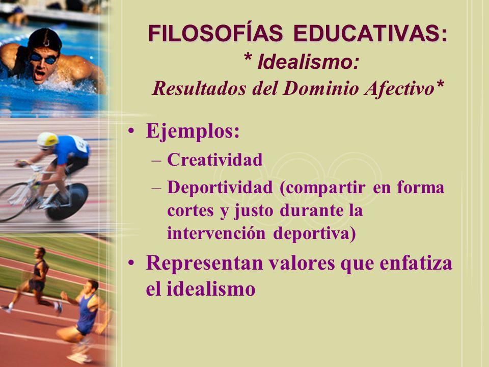 FILOSOFÍAS EDUCATIVAS: * Idealismo: Resultados del Dominio Afectivo*
