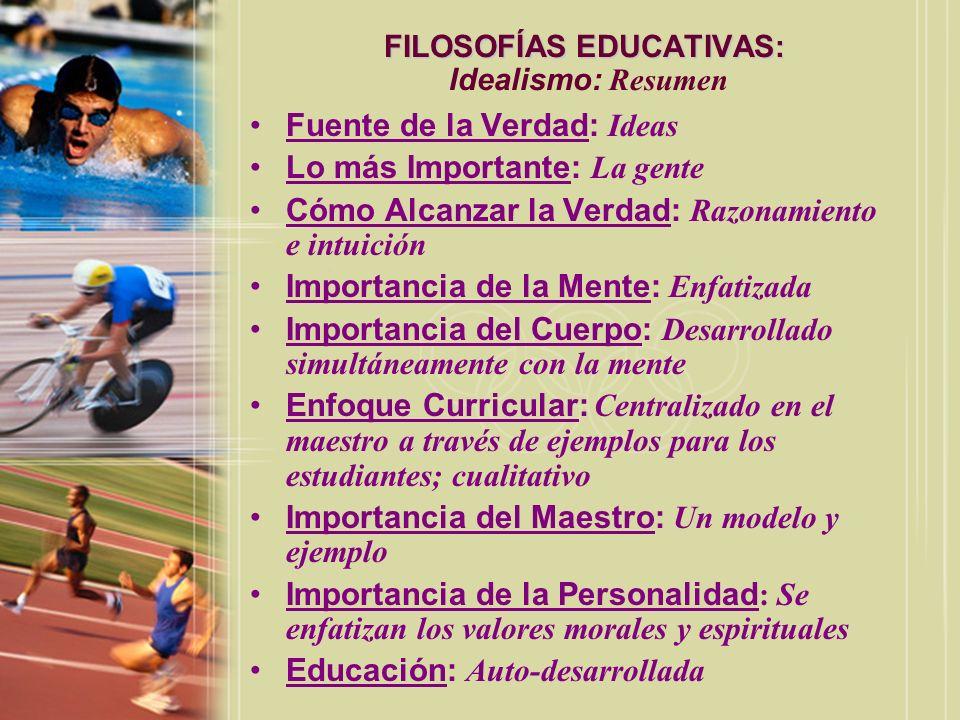 FILOSOFÍAS EDUCATIVAS: Idealismo: Resumen