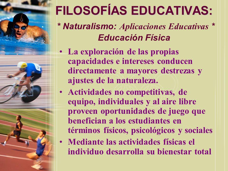 FILOSOFÍAS EDUCATIVAS:. Naturalismo: Aplicaciones Educativas