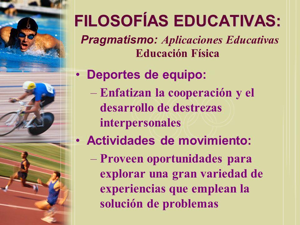 FILOSOFÍAS EDUCATIVAS: Pragmatismo: Aplicaciones Educativas Educación Física
