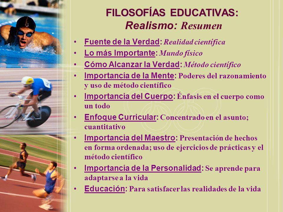 FILOSOFÍAS EDUCATIVAS: Realismo: Resumen