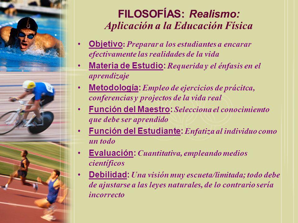 FILOSOFÍAS: Realismo: Aplicación a la Educación Física