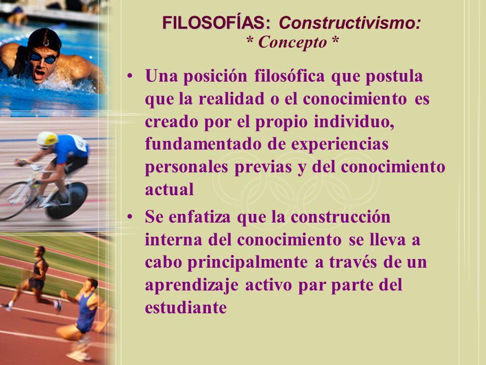 FILOSOFÍAS: Constructivismo: * Concepto *
