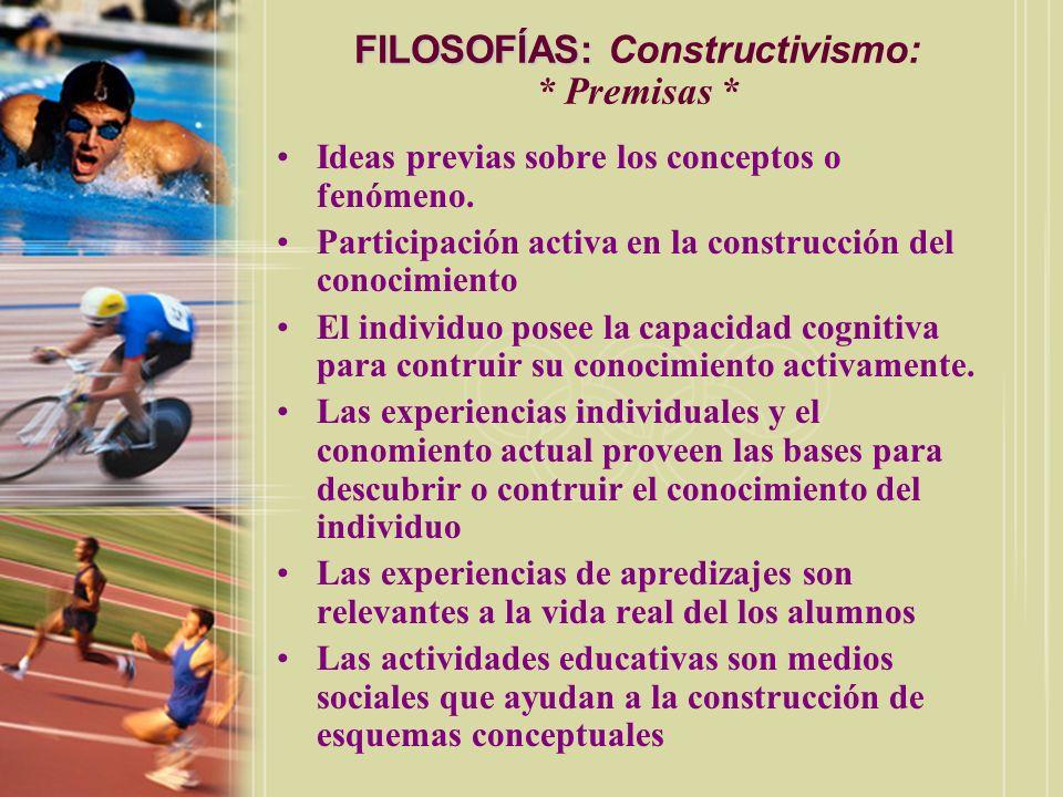 FILOSOFÍAS: Constructivismo: * Premisas *