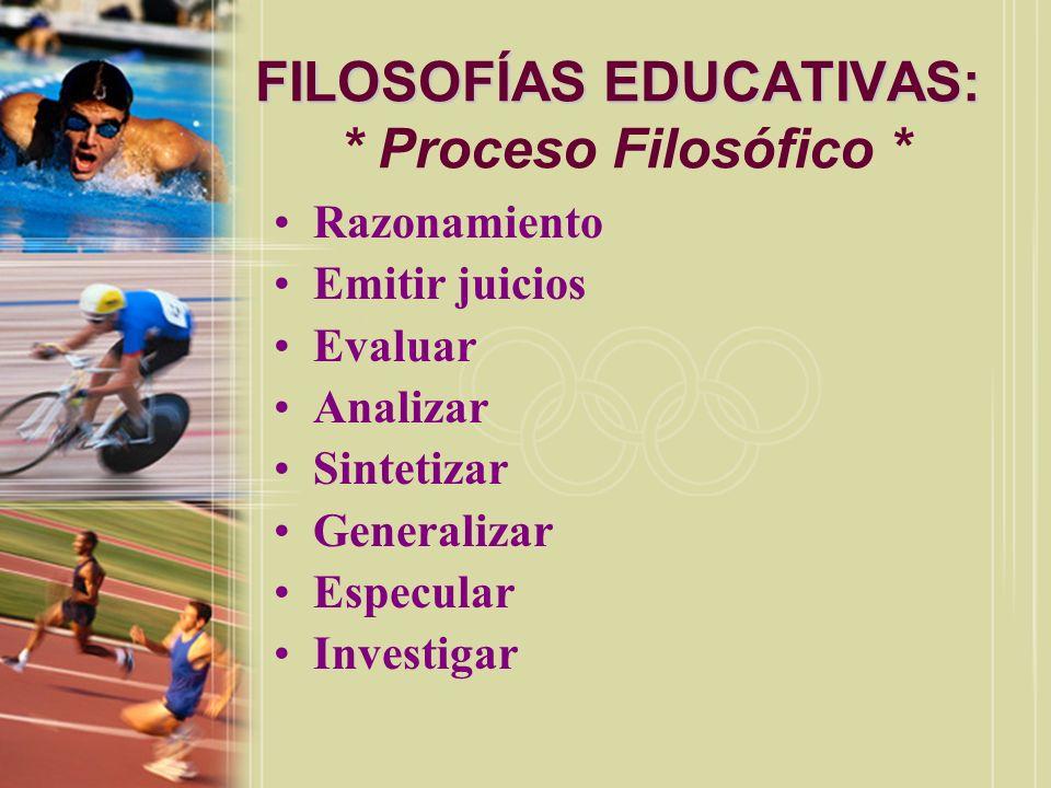 FILOSOFÍAS EDUCATIVAS: * Proceso Filosófico *