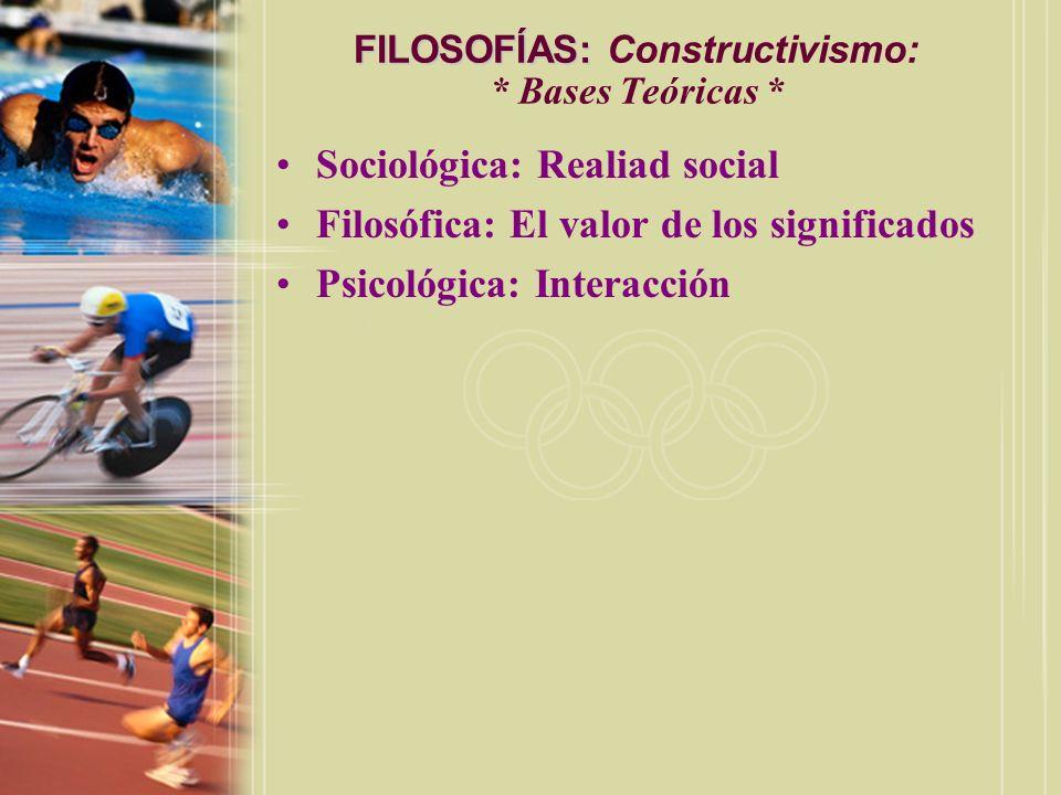 FILOSOFÍAS: Constructivismo: * Bases Teóricas *