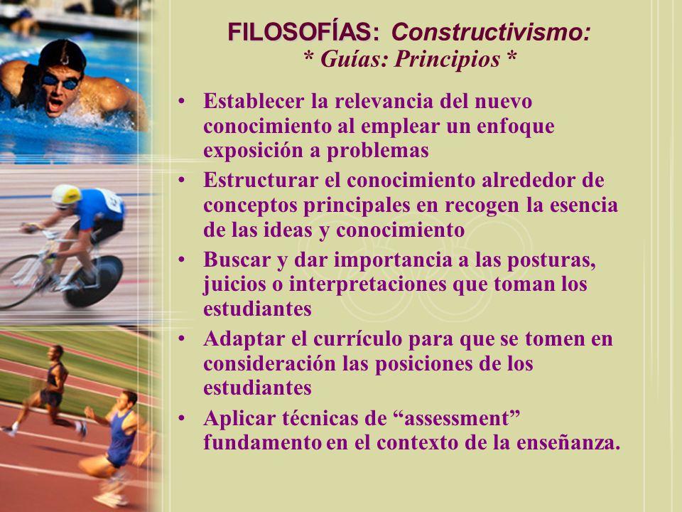 FILOSOFÍAS: Constructivismo: * Guías: Principios *