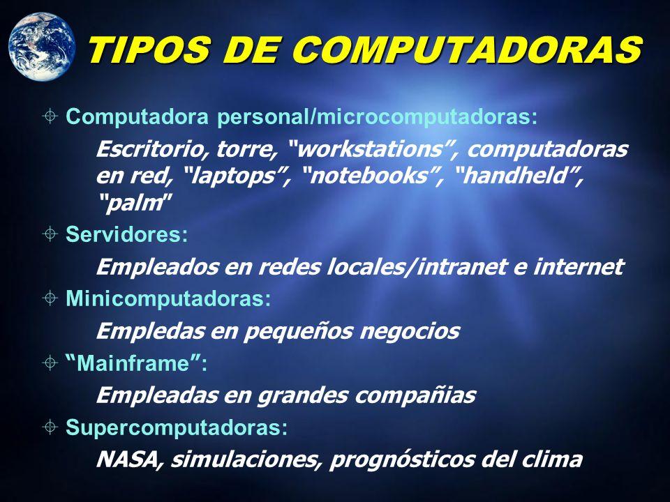 TIPOS DE COMPUTADORAS Computadora personal/microcomputadoras: