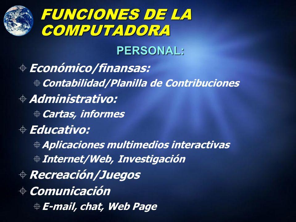 FUNCIONES DE LA COMPUTADORA