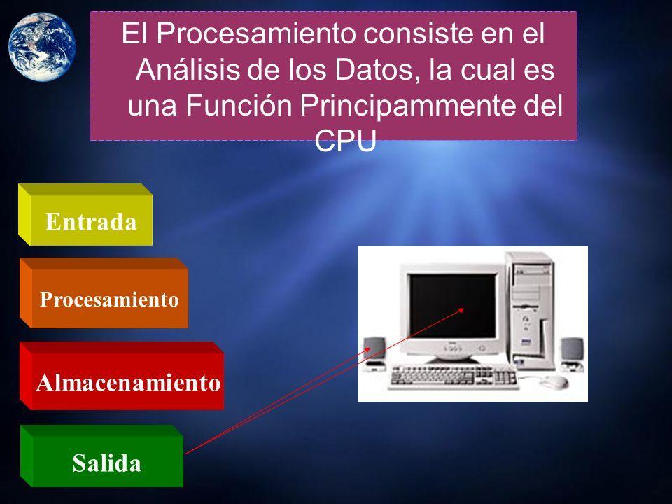 El Procesamiento consiste en el Análisis de los Datos, la cual es una Función Principammente del CPU