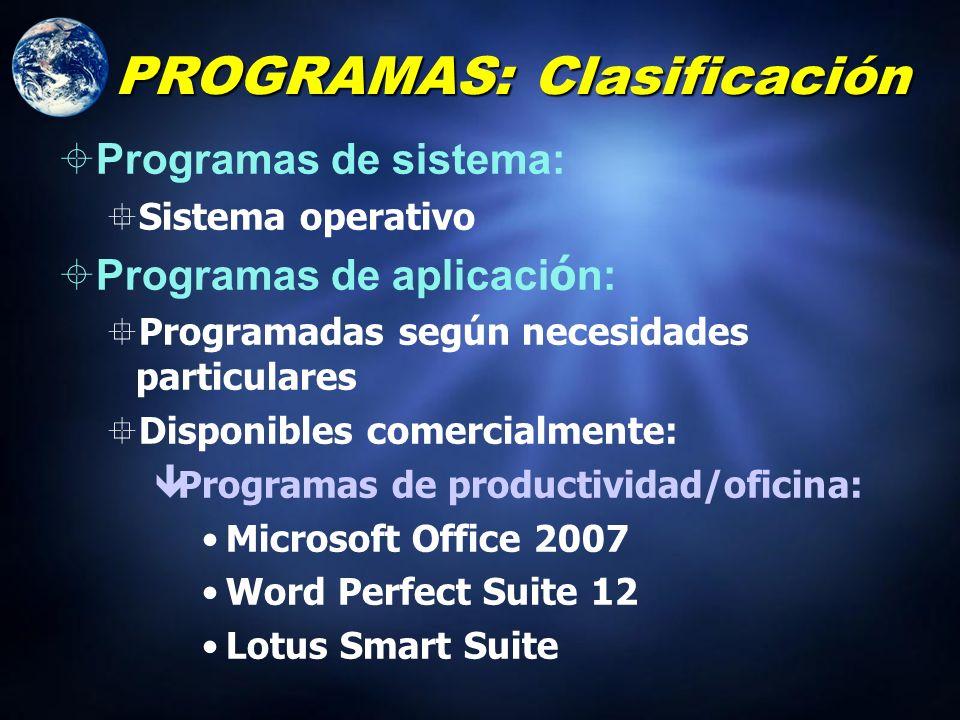 PROGRAMAS: Clasificación